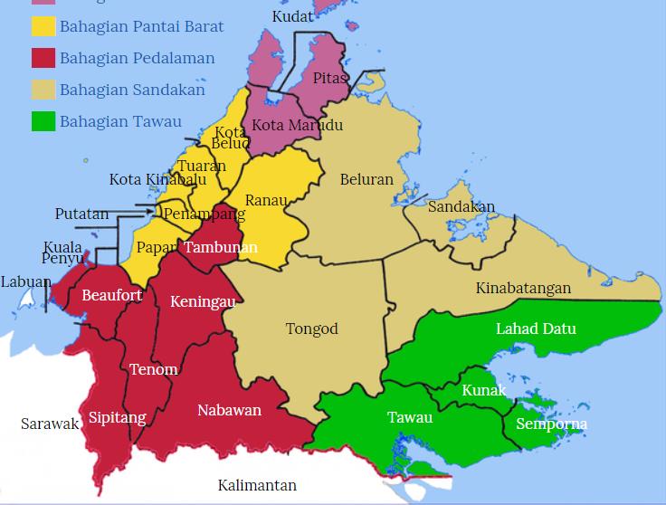 peta daerah di sabah