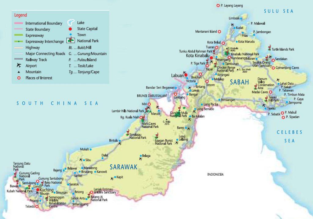 peta daerah di sarawak dan sabah