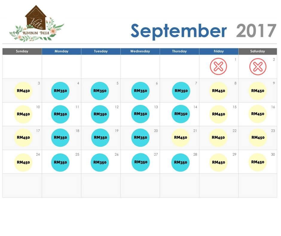 jadual penginapan villa rimbun desa bulan september
