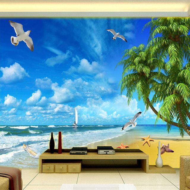 kustom 3d foto wallpaper dinding lukisan pemandangan laut gaya mediterania pantai seaside lanskap living room sofa