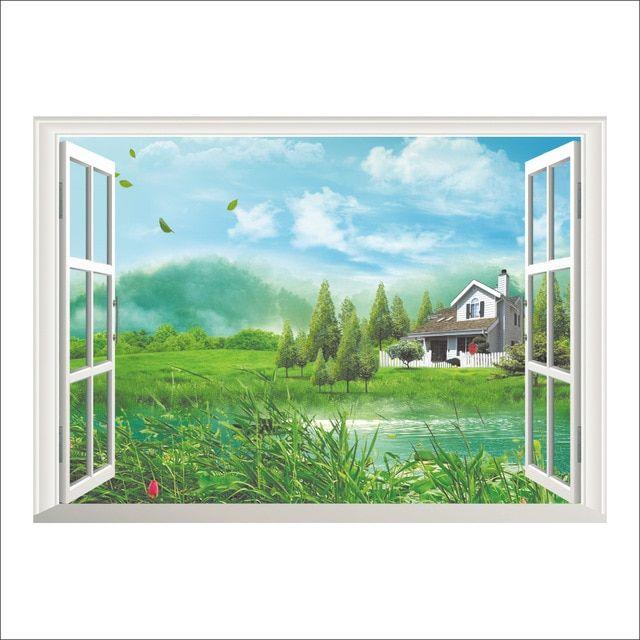 3d jendela palsu dekorasi lahan basah kabin stiker dinding ruang tamu kamar tidur dekorasi rumah diy