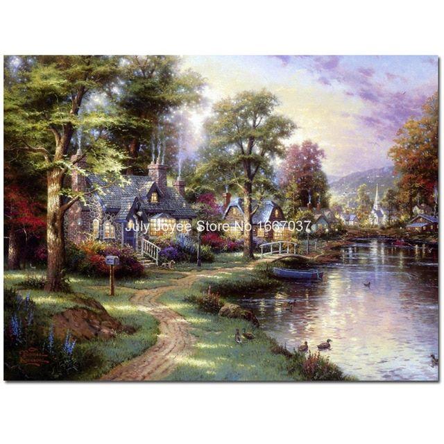 bach dekat sungai kehidupan negara diy penuh berlian lukisan pemandangan 3d rhinestones gambar rumah dekorasi rumah