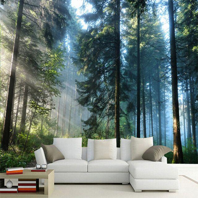 kustom 3d sunshine alam hutan foto pemandangan lukisan dinding wallpaper ruang tamu kamar tidur latar belakang