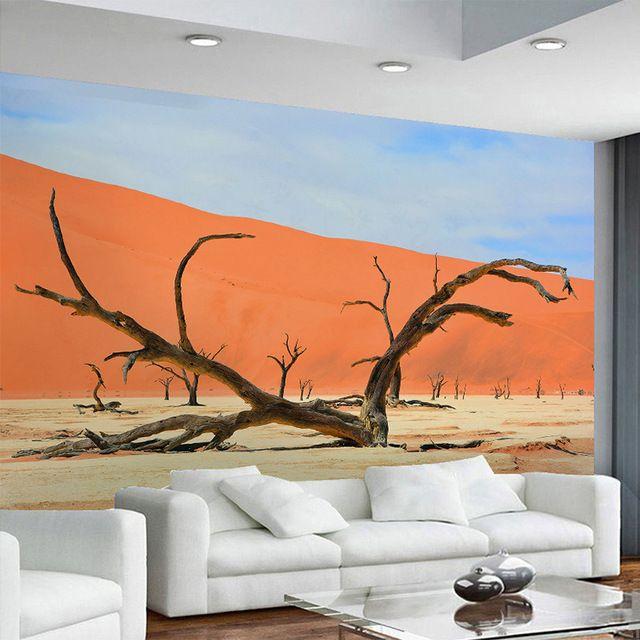 modern minimalis wallpaper padang pasir merah kayu mati foto pemandangan 3d stereo mural cafe restoran ruang