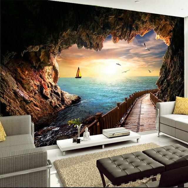 foto kustom wallpaper matahari terbenam yang indah gua tepi laut pemandangan 3d dinding lukisan dinding ruang