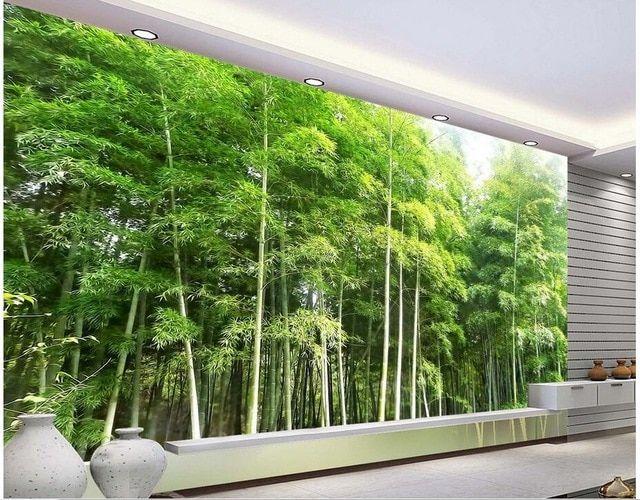 kustom foto 3d wallpaper non woven mural hd bambu dekorasi lukisan pemandangan 3d mural dinding