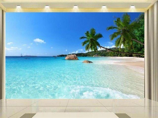 3d wallpaper kustom foto wallpaper ruang tamu mural palm beach pemandangan 3d lukisan sofa tv latar