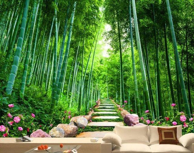 wallpaper pemandangan untuk dinding kustom 3d background wallpaper batu jalan bambu grove 3d mural dinding wallpaper