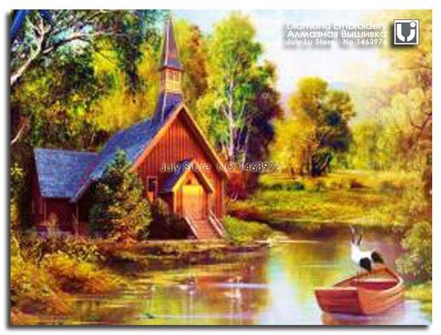 pondok di hutan 3d mosaik gambar pemandangan sungai pohon diy berlian lukisan bordir berlian cross stitch