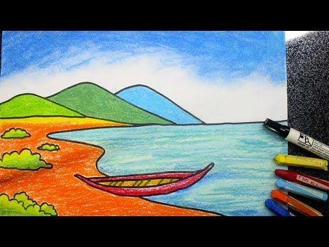 cara menggambar pemandangan pantai mudah