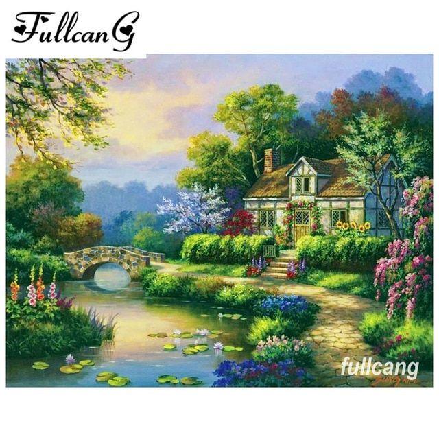 rumah di tepi sungai mosaik diy 3d berlian lukisan cross stitch kit penuh persegi berlian