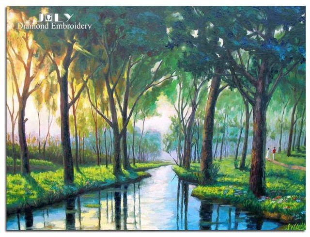 gambar rhinestones mosaik orang berjalan di hutan pola berlian set needlework berlian bordir pemandangan sungai di