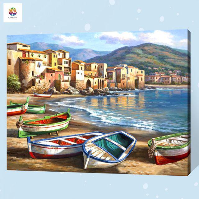 frameless lukisan dengan nomor digital pelabuhan laut landscape cat akrilik abstrak modern wall art lukisan kanvas