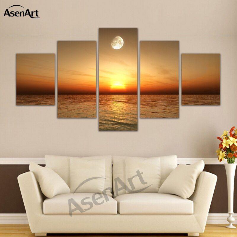 5 panel dinding gambar laut sunset lukisan pemandangan untuk ruang tamu alam pemandangan laut kanvas bingkai dinding seni siap untuk hang di painting
