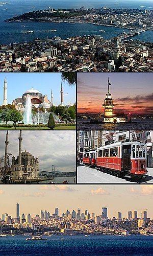 searah jarum jam dari atas tanduk emas antara karakoy dan tanjung seraglio termasuk kawasan bersejarah istanbul menara leandros jalur trem nostalgia di
