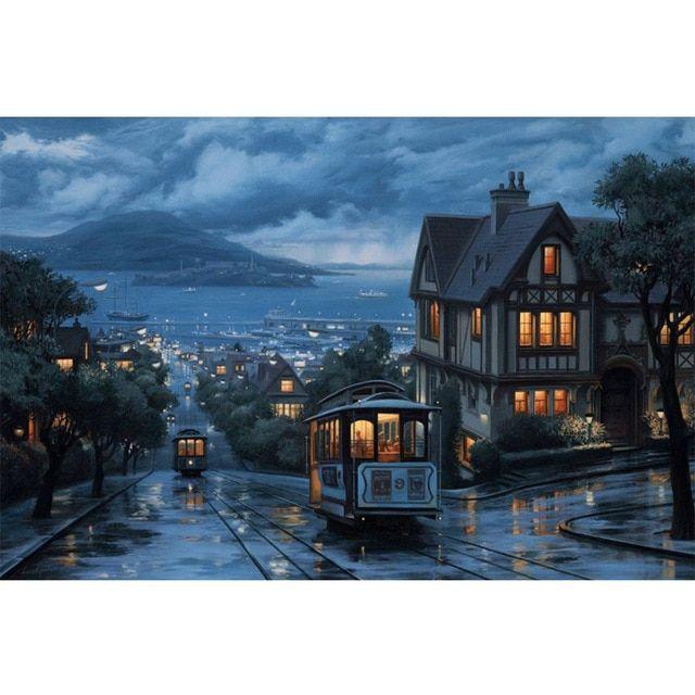 berlian lukisan pemandangan diy berlian bordir kota malam 3d persegi berlian mosaik penuh penutup furniture dekorasi