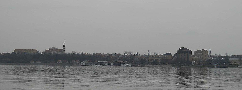 panoramic view of the vukovar from the danube river
