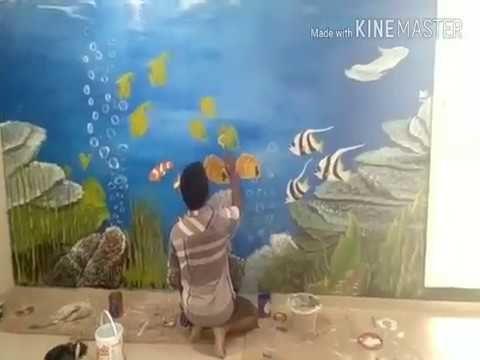 gambar mewarna pemandangan di dasar laut meletup lukisan di bawah laut di di dinding youtube