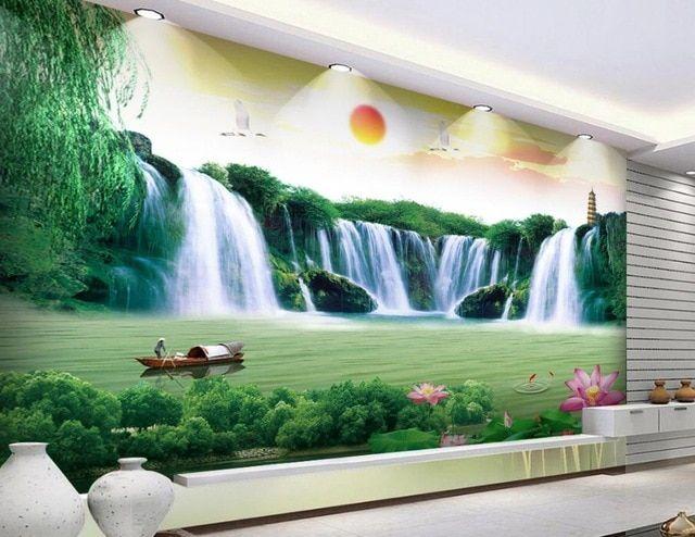 kustom 3d wallpaper lukisan pemandangan air terjun 3d alam wallpaper untuk kamar mandi nonwoven wallpaper
