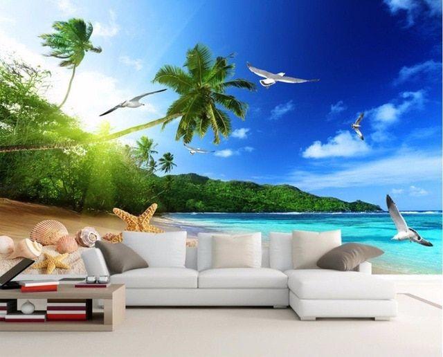 keren modern printing wallpaper pantai landscape wallpaper untuk ruang tamu hd 3d besar pantai pemandangan bedroom