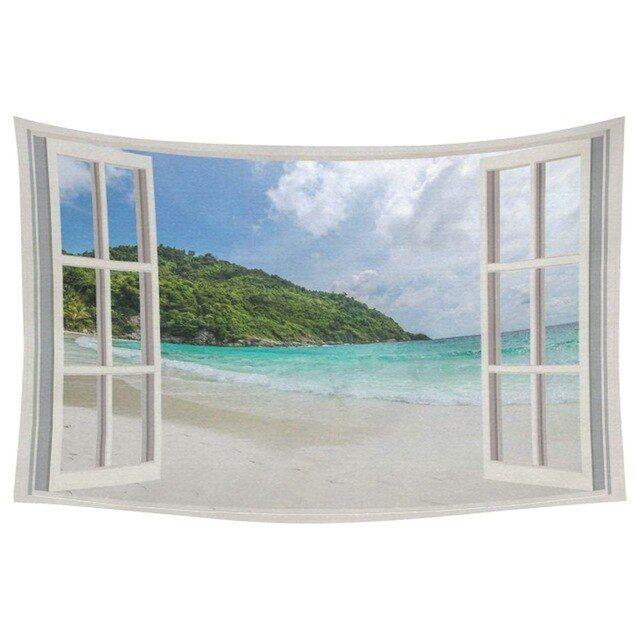 charmhome musim panas pantai home decor wall art jendela yang terbuka dengan pemandangan laut permadani hiasan