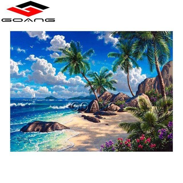 penuh berlian bordir 5d diy berlian lukisan pemandangan pantai berlian lukisan berlian imitasi cross stitch dekorasi