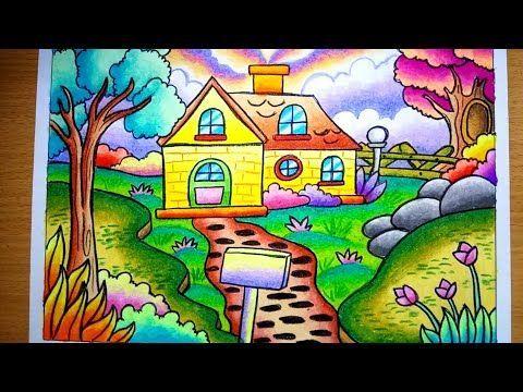 cara menggambar dan mewarnai pemandangan alam dan rumah drawing scenery of nature and house