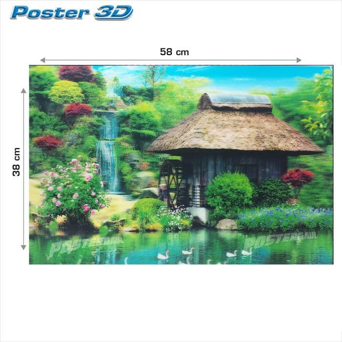 poster 3d pemandangan rumah tradisional 3d70 size 38 x 58 cm