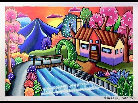 cara menggambar dan mewarnai pemandangan rumah tepi sungai d d d dµd d d d d d d