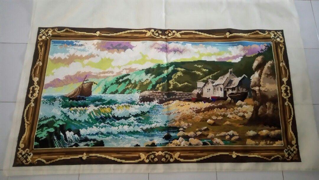 strimin kristik pemandangan rumah tepi pantai ukuran 130x70cm design craft handmade goods accessories on carousell
